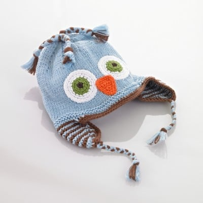 knitted hat owl blue