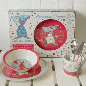 Rufus Rabbit Melamine Blue set