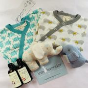 Baby hamper turquoise and neutral