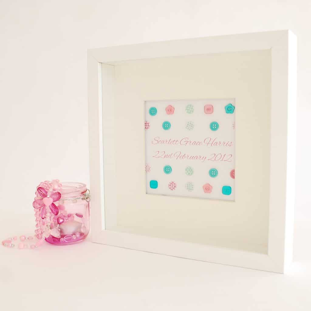 Personalised Name Frame - Cute as a Button | The Little Lavender Tree