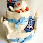 Luxury blue nappy cake