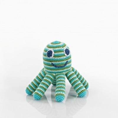 wholesale pebble fair trade cotton crochet octopus rattle green blue