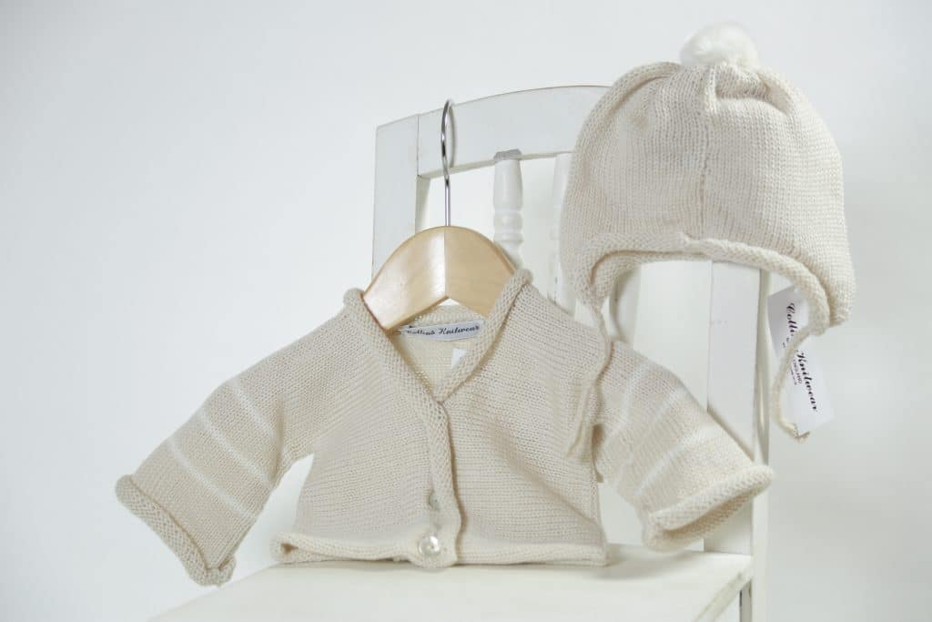 Merino Hat and cardi set - cream