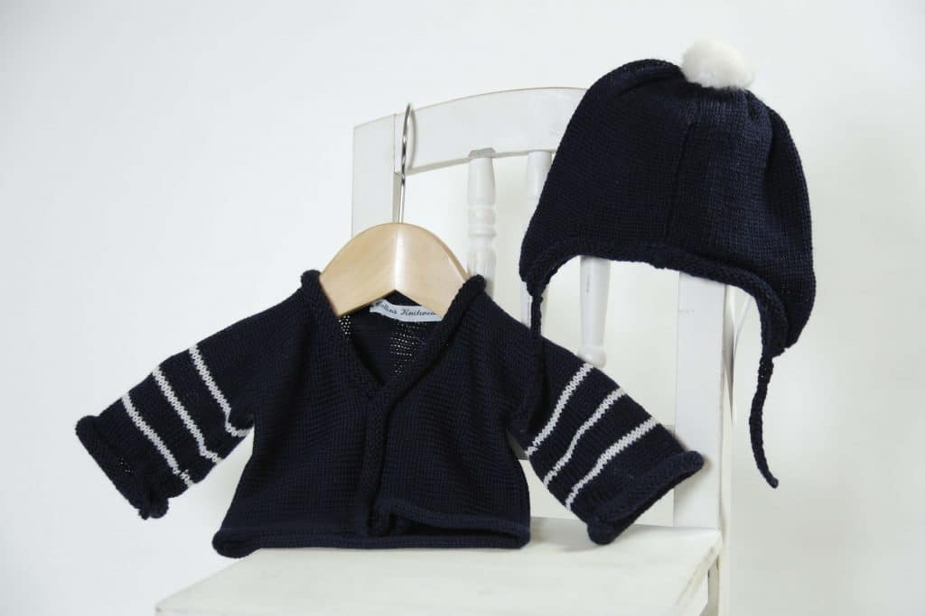 Merino hat and cardi set - navy
