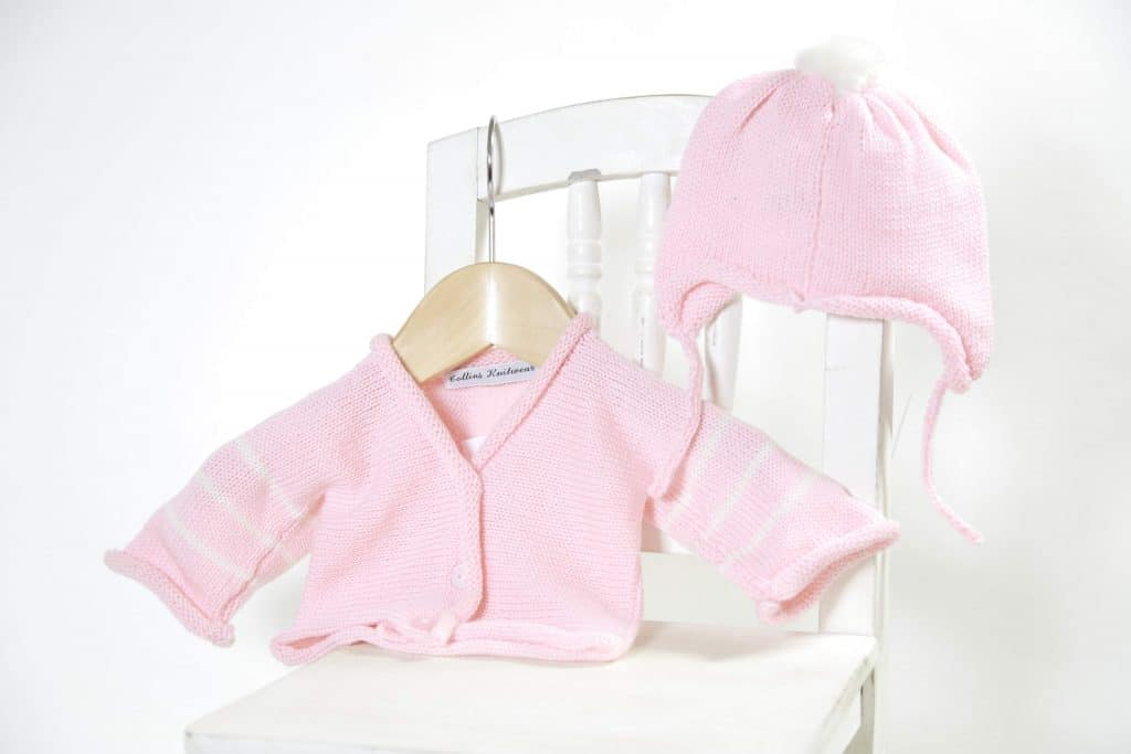 Merino hat and cardi set - pink
