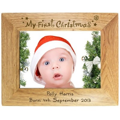 personalised-my-first-christmas-oak-frame-5x7_