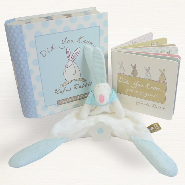 Comforter and book rufus rabbit