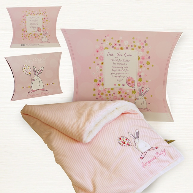 Baby Gifts Via Post : Rufus rabbit snuggle blanket pink the little lavender tree