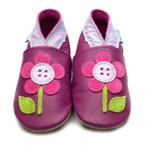 Inch Blue Button Flower Baby Shoes - Grape
